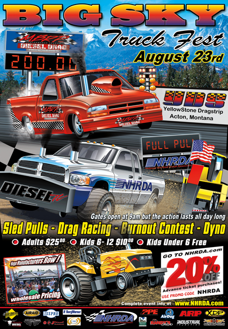 BIG SKY 2014 Poster 450 Big Sky Truck Fest 2014 Info  Sled Pull Burnout Contest Dyno Diesel Drag Racing